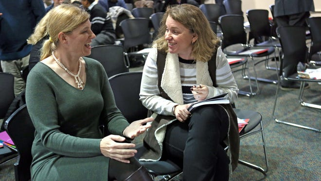 Beth Peck (left) and Svetlana Ahaletskaya, both former DuPont employees, are starting a new business together called Elite Professional Services, geared toward seniors. The two business partners were attending What It Really Takes to Become an Entrepreneur, an event organized by the Small Business Development Center of Delaware .