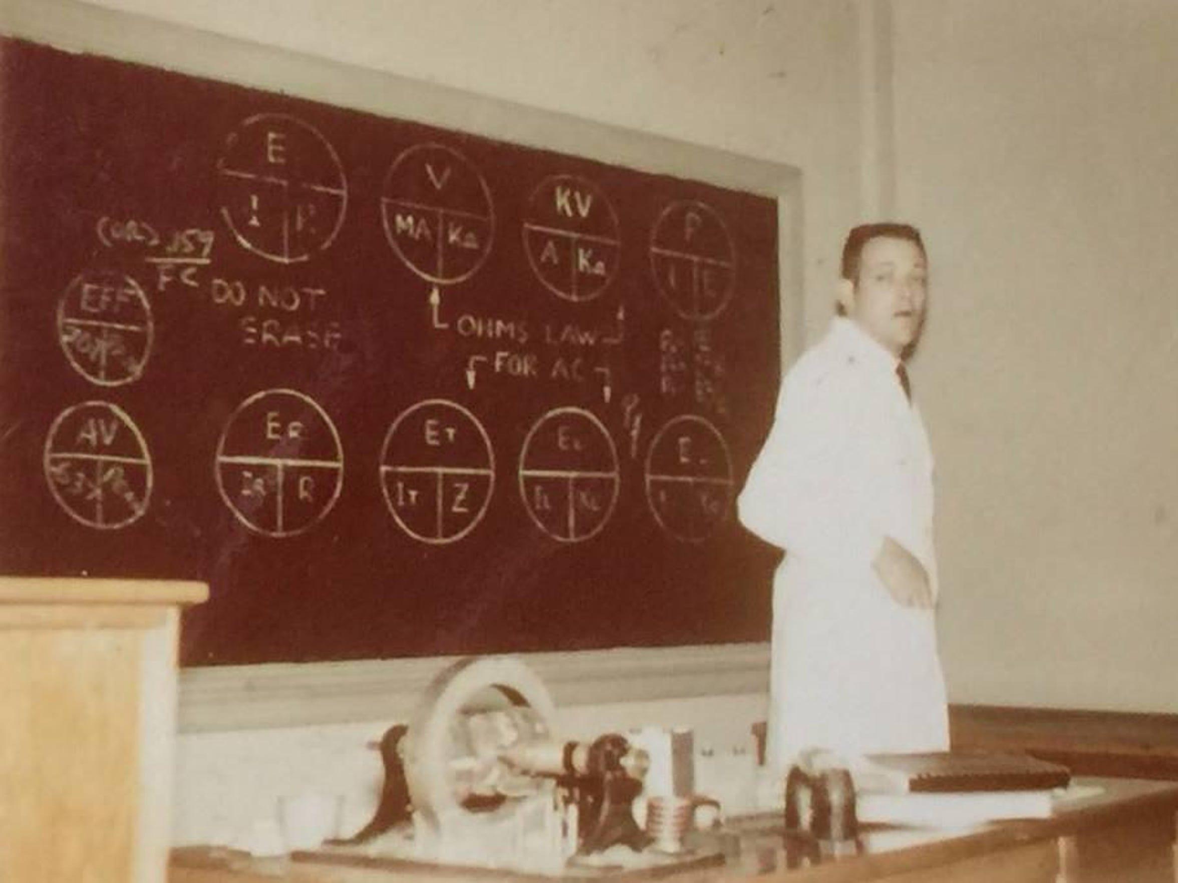 James Belcher Sr. teaching electronics at U.S. Navy