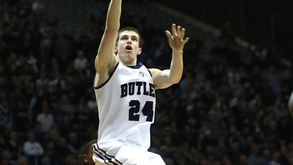 Butler's Kellen Dunham shoots against Seton Hall Saturday March 8, 2014 at Hinkle Fieldhouse. Dunham had 29 points in the game.