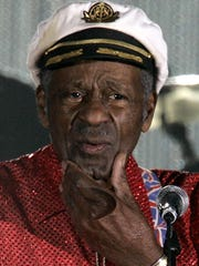 """FILE - In this Saturday, March 28, 2009 file photo, American guitarist, singer and songwriter Chuck Berry appears at the """"Rose Ball"""" in Monaco. On Saturday, March 18, 2017, police in Missouri said Berry has died at age 90. (AP Photo/Lionel Cironneau)"""