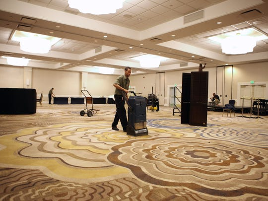 A ballroom at the Crowne Plaza hotel in White Plains. The city has a hotel tax,