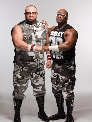 Bubba Ray, left, and D-Von Dudley are members of the popular WWE tag team, the Dudley Boyz.