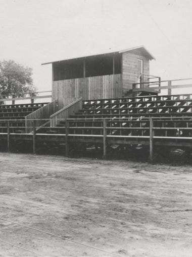Though ASU football began in 1897 the first stadium was constructed in 1927 and named Irish Field after Fred Irish, who was the coach during the first years of the team.  The field was used for nine seasons before moving to the new Goodwin Stadium.