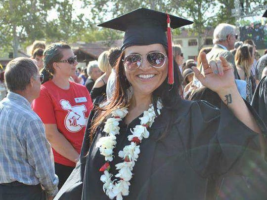 Regina Rutherford graduates from CSU Channel Islands in 2015.