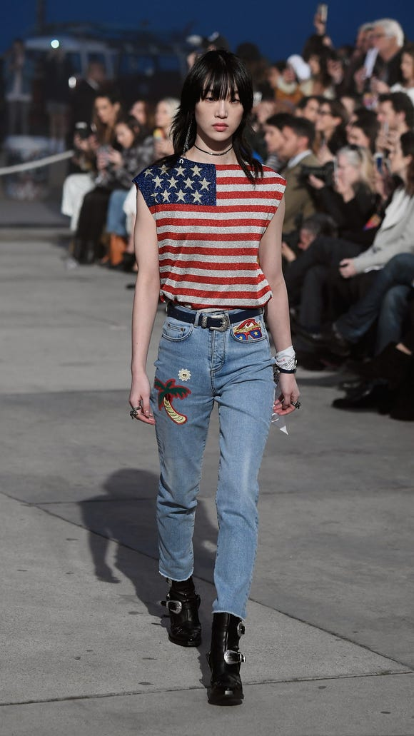 Model Sora Choi walked in a flag-inspired top.