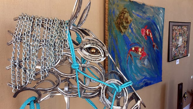 """Silver"" is the title of this metal work entered by Oscar Earl for the Recycled Art Show now on display at the Deming Arts Center, 100 S. Gold St. The show is sponsored by Keep Luna County Beautiful and hosted by the Deming Arts Council."