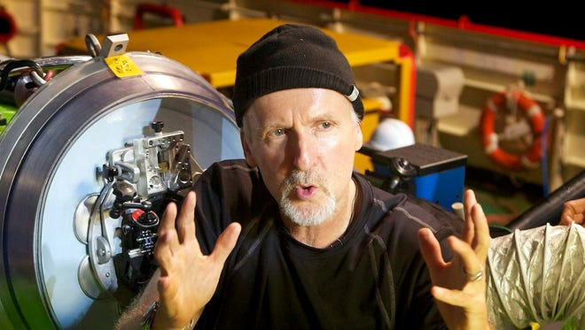 James Cameron from the cockpit of the DEEPSEA CHALLENGER submersible.