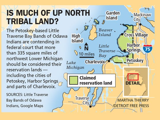 Map of area that the Little Traverse Bay Bands of Odawa Indians contended was its reservation land.