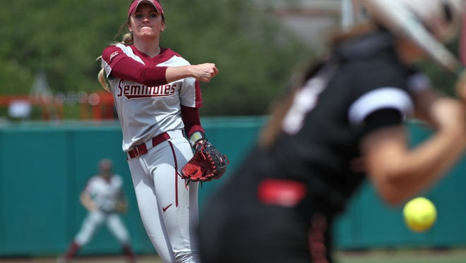 FSU's Kylee Hanson pitches a no-hitter against Jacksonville State as the Seminoles win 8-0 in the opening game of their NCAA Tournament Regional at JoAnne Graf Field on Friday, May 18, 2018.