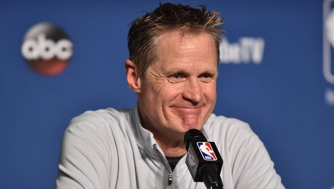 Golden State Warriors head coach Steve Kerr speaks to the media after game four of the 2018 NBA Finals against the Cleveland Cavaliers at Quicken Loans Arena.