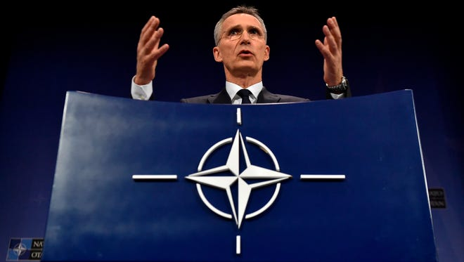 NATO Secretary General Jens Stoltenberg gives a  press conference during a Foreign ministers meeting at the Nato headquarters in Brussels on April 27, 2018.