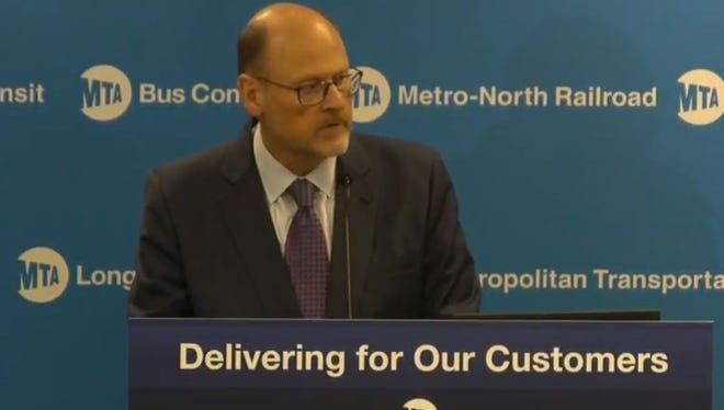MTA Chairman Joseph Lhota presents a four-month plan to get the New York City subway system back on track during a news conference on Tuesday, July 25, 2017, in Manhattan.