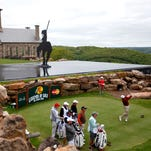Joe Durant tees off on the fourth hole at Top of the Rock golf course during the Bass Pro Shops Legends of Golf on Sunday.