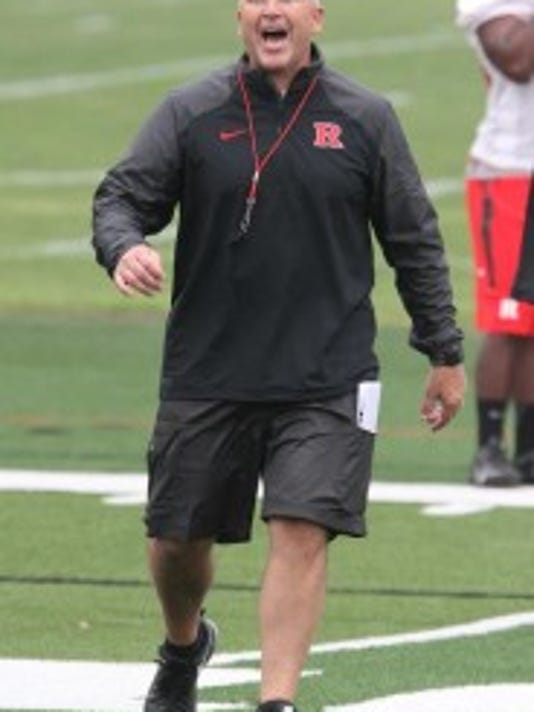 Rutgers football coach Kyle Flood liked the energy at Friday's practice and he noticed the true freshmen have a strong starting point. (Mark Sullivan/MyCentralJersey.com)