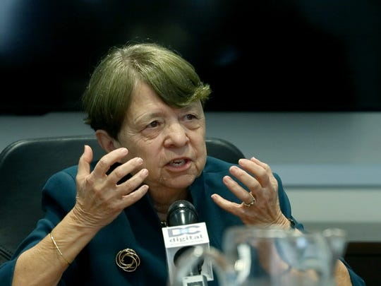 Former US Attorney Mary Jo White talks to the Democrat