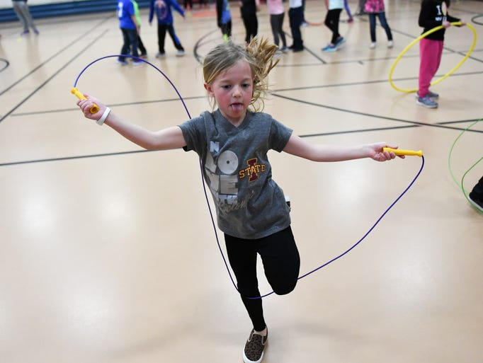 First-grader Grayson Gail jumps rope on Thursday, March