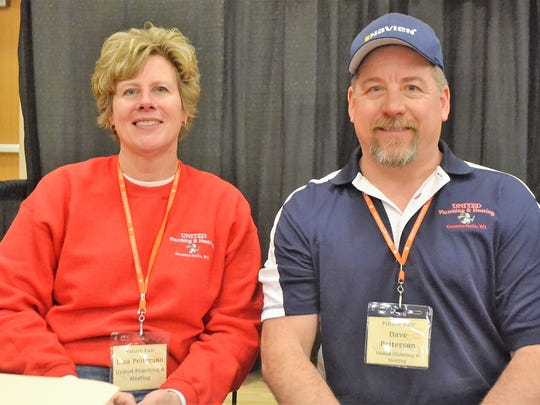 Lisa and Dave Peitersen of United Plumbing & Heating of Oconto Falls, which was among 68 companies and employers available to meet with students at the Skills USA Future Fair at Oconto Falls High School on March 1.