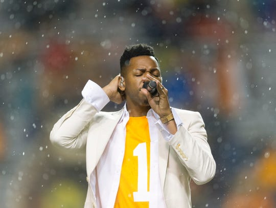 Chris Blue performs during a game between Tennessee
