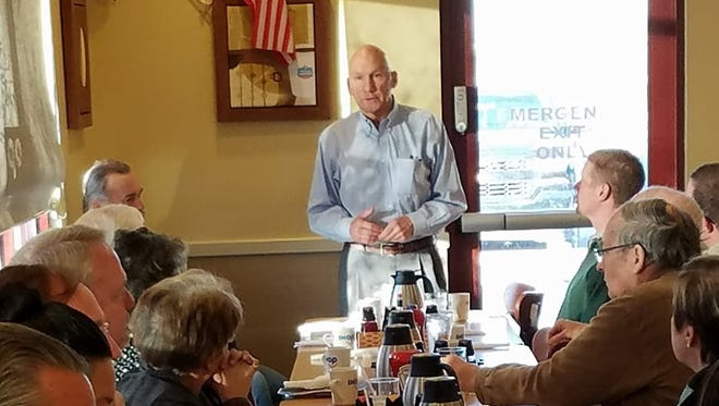 Mick Rich, a Republican candidate for the U.S. Senate, speaks to Carlsbad residents Jan. 19 at the weekly Friday Focus event.