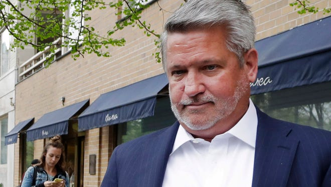 In this April 24, 2017, file photo, then-Fox News co-president Bill Shine, right, leaves a New York restaurant.