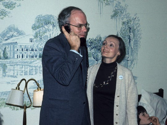 Incumbent Sen. Patrick Leahy speaks with former Vermont Gov. Richard Snelling, who was calling to concede on that election in 1986. Marcelle Leahy stands next to her husband.