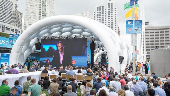 During Salesforce's annual customer confab, Dreamforce, some 150,000 are expected to descend on San Francisco, filling hotel rooms (and cruise ship suites), cabs, Ubers and open spaces with speaker events and concerts. In this session from 2014, founder Marc Benioff addresses the crowd.