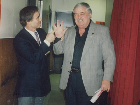 Anthony Carr and James Doohan backstage in Las Vegas in 1993