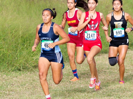 Carroll's Jolea Cortez makes an early move at the Region IV-5A Cross-Country Meet on Saturday, October 29th at the Dr. Jack A. Dugan Stadium in Corpus Christi.