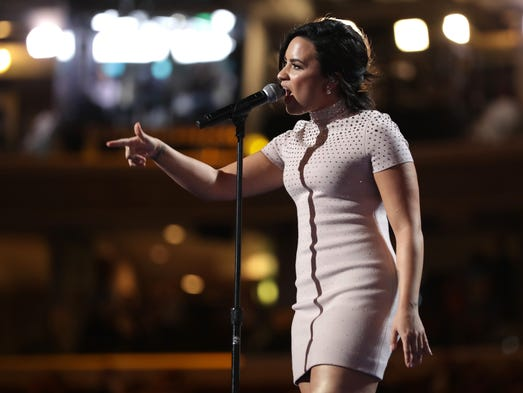 Singer Demi Lovato performs during the first day of