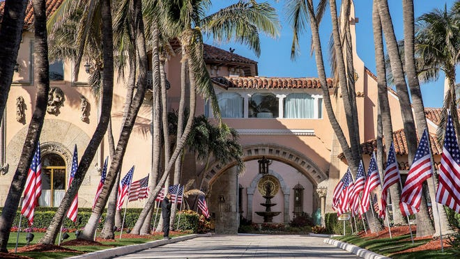 The entrance to Mar-a-Lago is lined with flags, January 18,, 2018.