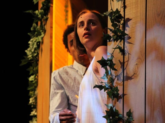 """Crystian Wiltshire as Romeo and Megan Massie as Juliet in Kentucky Shakespeare's production of """"Romeo and Juliet."""""""