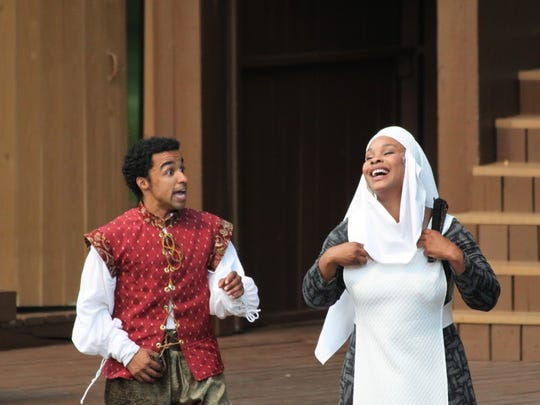 "Crystian Wiltshire as Romeo and Marci Duncan as Juliet's nurse in Kentucky Shakespeare's production of ""Romeo and Juliet."""