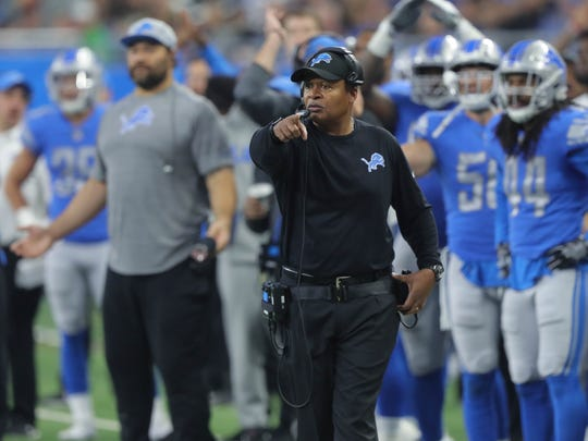 Lions coach Jim Caldwell on the sideline during action