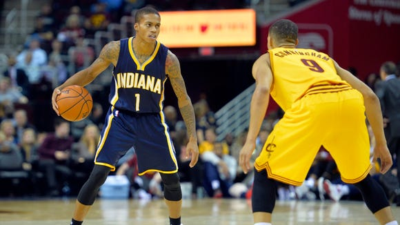 Oct 15, 2015; Cleveland, OH, USA; Indiana Pacers guard