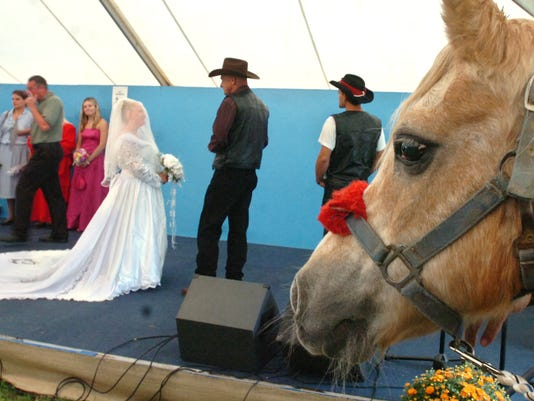 Trigger the pony was one of the guests in attendance of the wedding of Jim Shreves and Juanita Fitez at the York Fair on Thursday, Sept. 14, 2006. YORK DAILY RECORD/SUNDAY NEWS-JASON PLOTKIN