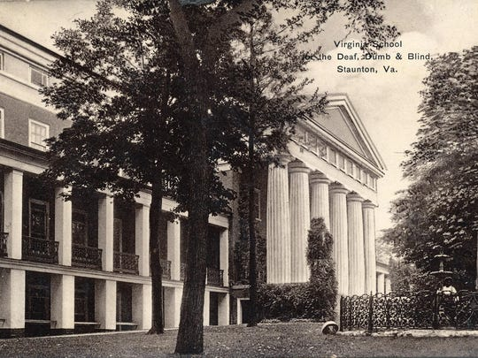 An old postcard depicts Main Hall at the Virginia School for the Deaf and the Blind.