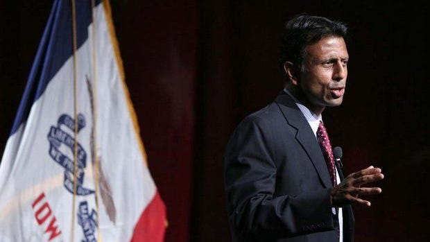 Louisiana Gov. Bobby Jindal speaks during the Iowa Faith and Freedom Coalition fall fundraiser on Sept. 27, 2014, in Des Moines.