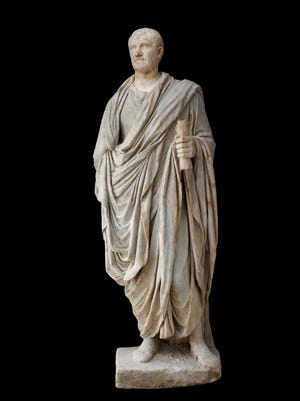 Statue of Roman magistrate (Italy), head 70Ð90 CE, body early 2nd century CE. Marble, 88 5/8 x 35 3/8 x 26 in. The British Museum, 1973,0302.9.