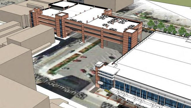 A drawing shows the design of the River's Edge parking ramp. If St. Cloud City Council approves the bids Monday, construction could begin Tuesday.
