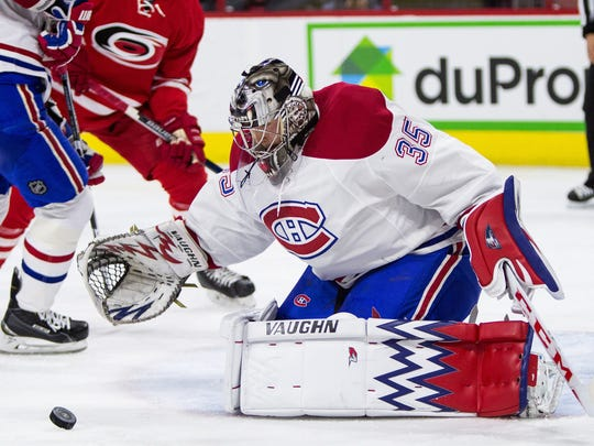 Montreal Canadiens goalie Charlie Lindgren (35) watches the puck during the second period April 7 against the Carolina Hurricanes in Raleigh, N.C.