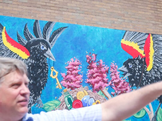 Artwork to spruce up alleys in downtown Ottumwa, Iowa, Wednesday, May 23, 2018.