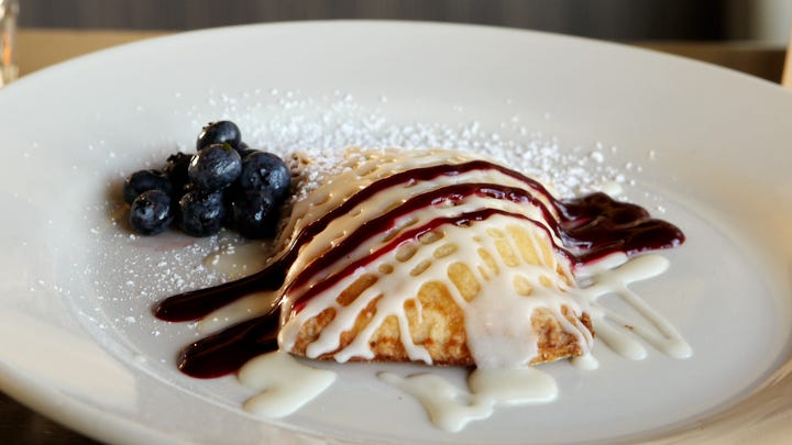 Wilma & Frieda's Cafe offers a Meyer Lemon Blueberry Breakfast Tart that makes for a delicious start to the morning.