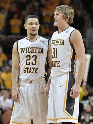 Wichita State guards Fred Van Vleet (23) and Ron Baker (31)