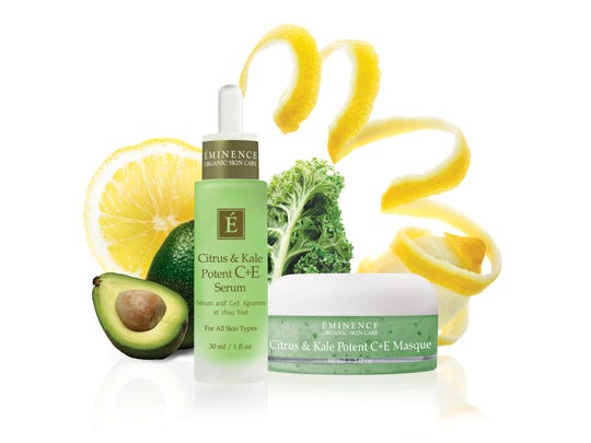 Eminence Organic shows Citrus & Kale Potent C+E Serum, left, and Citrus & Kale Potent C+E Masque made with kale. With a boost in popularity as a food and juice, kale has made its way into the beauty industry. (AP Photo/ Eminence Organic)