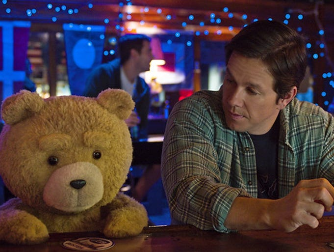 Ted voiced by Seth MacFarlane and Mark Wahlberg as