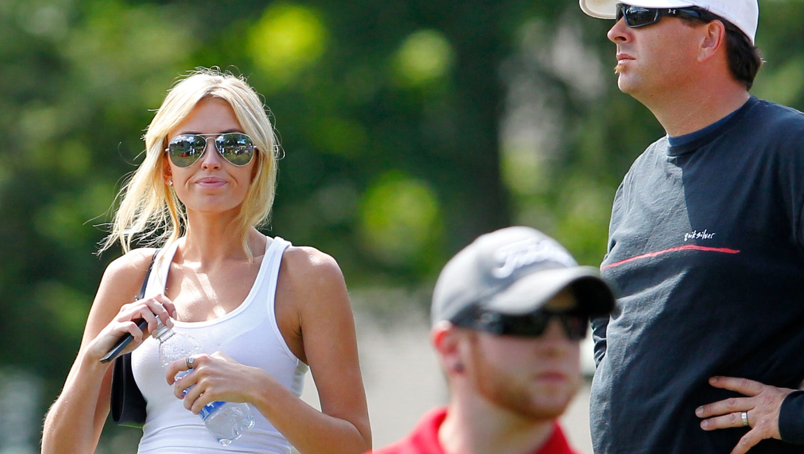 Paulina Gretzky watches Dustin Johnson during the final round of the 95th PGA Championship at Oak Hill in Pittsford, NY August 11, 2013.