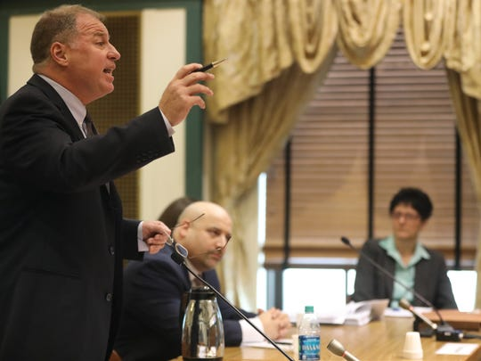 Bill Brennan of Wayne arguing his case at the Bergen County Courthouse in Hackensack on Wednesday.