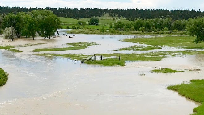 The Musselshell River is overflowing its banks near Ryegate in Golden Valley County. This photo was taken Thursday near Egge Road.