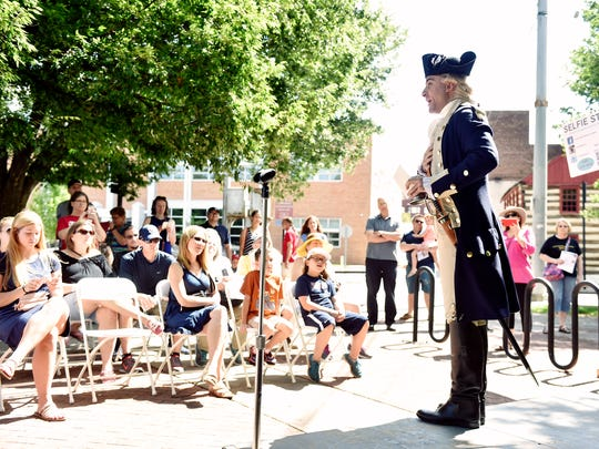Ben Goldman, an actor with American Historical Theatre, performs as the Marquis de Lafayette at the York County History Center's Colonial Complex Saturday, June 24, 2017, in York. Formerly the York County Heritage Trust, the History Center held a family-friendly event celebrating York history to kick off its capital campaign to renovate the former Met-Ed steam plant, where the History Center's museum and archives will be moved.