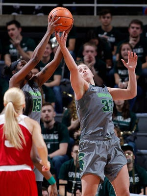 Jenna Allen, shown here against Indiana in a game earlier in the season, led Michigan State with 16 points in a loss to No. 12 Ohio State.